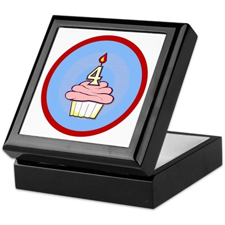 Girl Cupcake 4th Birthday Keepsake Box