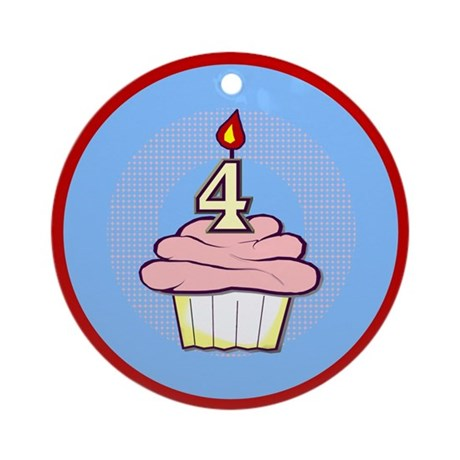 Girl Cupcake 4th Birthday Ornament (Round)