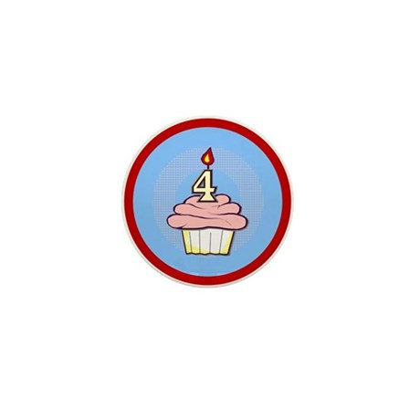 Girl Cupcake 4th Birthday Mini Button (100 pack)