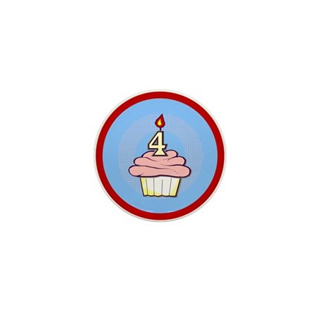 Girl Cupcake 4th Birthday Mini Button