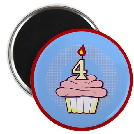 "Girl Cupcake 4th Birthday 2.25"" Magnet (100 pack)"
