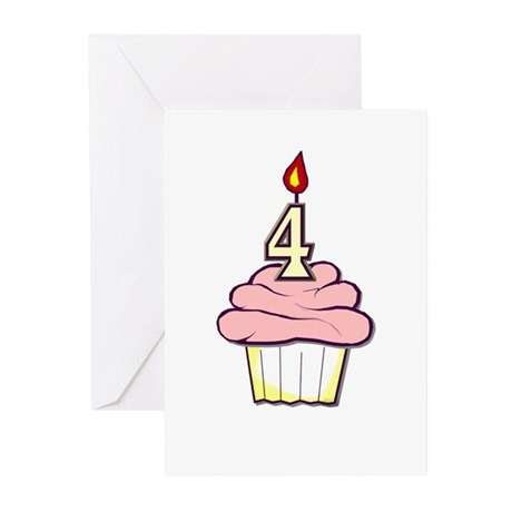4th Birthday Cupcake (girl) party invitations (10)