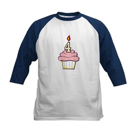 Girl Cupcake 4th Birthday Kids Baseball Jersey