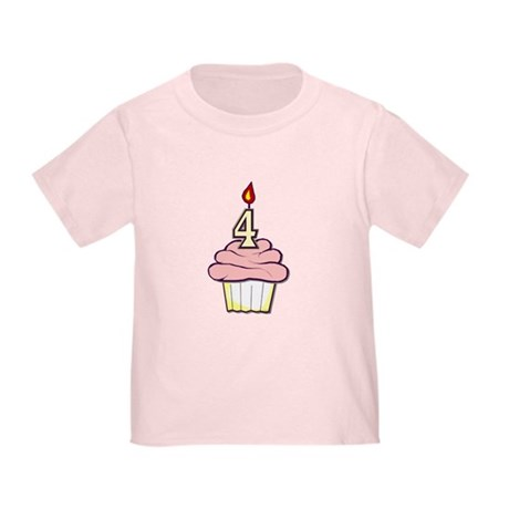 Girl Cupcake 4th Birthday Toddler T-Shirt