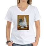Indian Fantail Pigeon Women's V-Neck T-Shirt