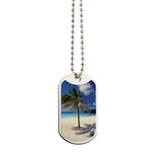 Palm tree on deserted Knip Beach on Curac Dog Tags
