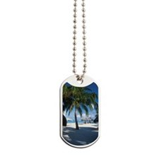 Palm trees and umbrellas on beach on Arub Dog Tags