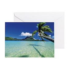 Faanui Bay, as seen from beach on Bo Greeting Card