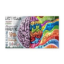 Left Brain Right Brain Cartoo Rectangle Car Magnet