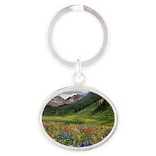 Alpine flowers in Rustler's Gulch Oval Keychain
