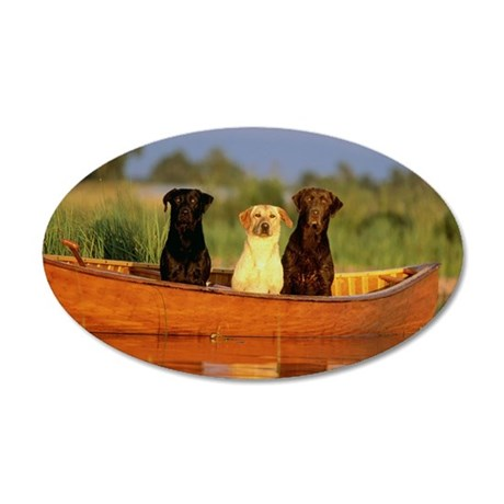 Dogs in a canoe 35x21 Oval Wall Decal