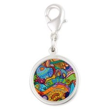Abstract Whimsy Silver Round Charm