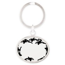 Twelve Orcas Oval Keychain