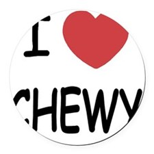 I heart CHEWY Round Car Magnet