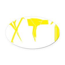Hair Stylist Yellow Tools Black Sh Oval Car Magnet