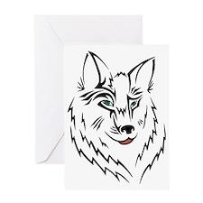Black Wolf Tribal Tattoo Greeting Card