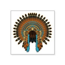 "Native War Bonnet 08 Square Sticker 3"" x 3"""
