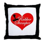 Rubber Stamper - Heart Throw Pillow