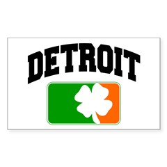 Detroit Shamrock Rectangle Sticker