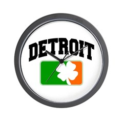 Detroit Shamrock Wall Clock