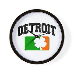 Detroit Shamrock Wall Clock