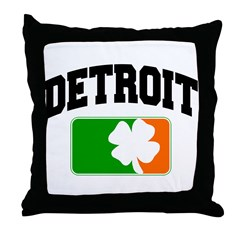 Detroit Shamrock Throw Pillow