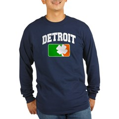 Detroit Shamrock Long Sleeve Dark T-Shirt