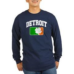 Detroit Shamrock Long Sleeve Dark T-Shirt