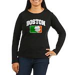 Boston Shamrock Women's Long Sleeve Dark T-Shirt