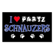 I Love Parti Schnauzers 2.0 Rectangle Decal