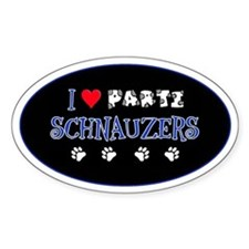 I Love Parti Schnauzers 2.0 Oval Decal