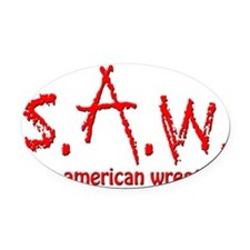Save American Wrestling (blood) Oval Car Magnet