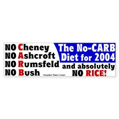 No Carb No Rice Bumper Sticker