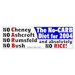 No Carb No Rice Bumper Sticker
