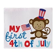 Monkey My First 4th of July Throw Blanket