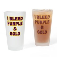 I Bleed Purple  Gold Drinking Glass