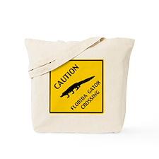 Caution Florida Gator Crossing Tote Bag