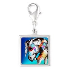 Painted Pony Silver Square Charm