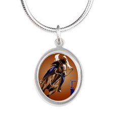Barrel Horse Silver Oval Necklace