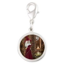 Witch with Candle Silver Round Charm