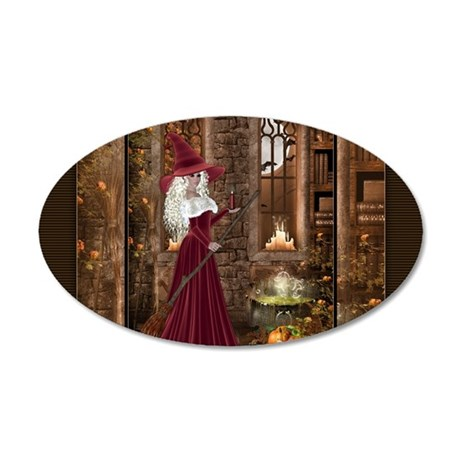 Witch with Candle 35x21 Oval Wall Decal