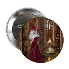 """Witch with Candle 2.25"""" Button"""