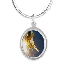 Shuttle mission STS-121 launc Silver Oval Necklace