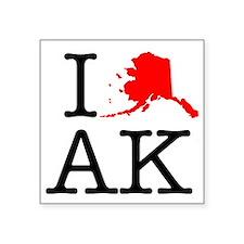 "I Love AK Alaska Square Sticker 3"" x 3"""
