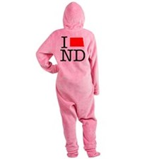 I Love ND North Dakota Footed Pajamas