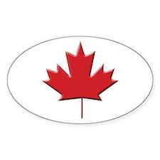 Canada: Maple Leaf Oval Bumper Stickers