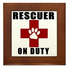 Rescuer, ON DUTY Framed Tile