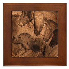 Stone-age cave paintings, Chauvet, Fra Framed Tile