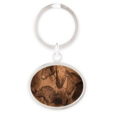 Stone-age cave paintings, Chauvet, F Oval Keychain