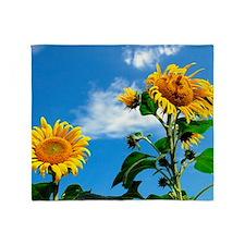 Space sunflower Throw Blanket